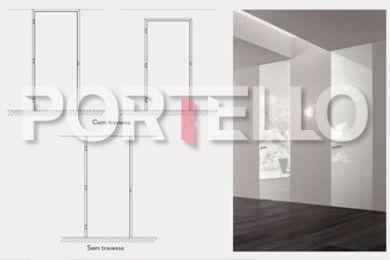 Portas com acabamento sem travessa Efeito de integracao total entre porta parede e teto